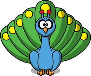 Blue Peacock with Green and Yellow Feathers clipart