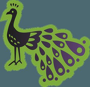 Green peacock clipart