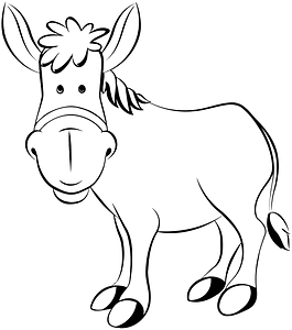 Donkey - outline clipart