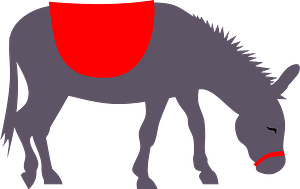 Donkey with red saddle clipart