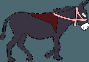Donkey with saddle clipart