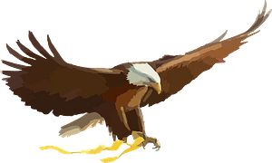 Bald eagle holding yellow ribbon clipart