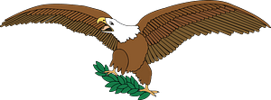 Bald eagle on branch clipart