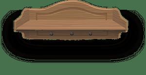 Wooden wall shelf clipart