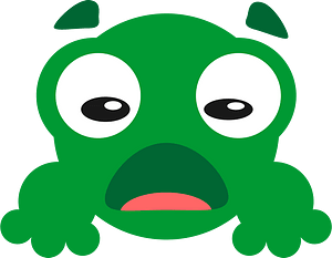 Green staring eyes frog face clipart