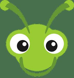 Green staring eyes monster face clipart