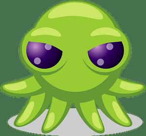 Green staring eyes octopus face clipart