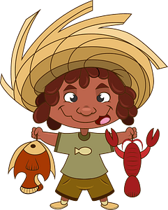 Little fisherman with a catch clipart