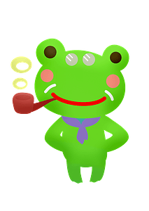 Frog smoking pipe clipart