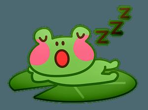 Frog sleeping on a leaf clipart