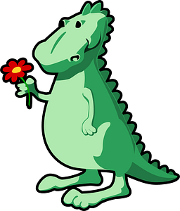 Dragon with flower clipart