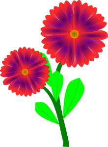 Red Flowers on the Stem clipart