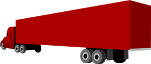 Red Semi Truck and Trailer clipart