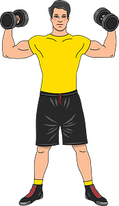 Barbell and dumbbell workout clipart