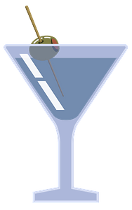 Martini with olive clipart