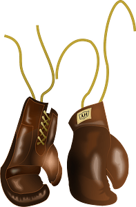 Vintage leather boxing gloves clipart