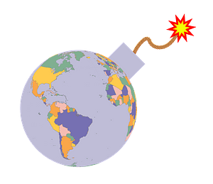 Political map earth globe bomb clipart