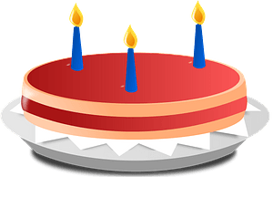 3 candle cake immagine clipart