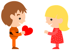 Boy giving valentine heart to girl immagine clipart
