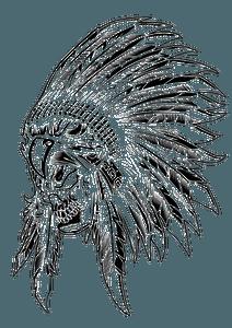 Aborigen skull - black and white clipart