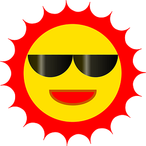 Sun with Red Aura and Sunglasses clipart