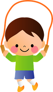 Child is skipping rope clipart