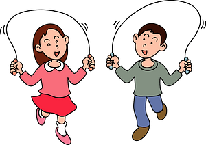 Children are skipping rope clipart