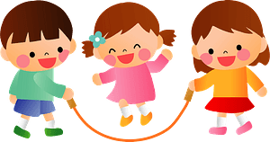 Children skipping rope clipart