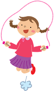 Girl is skipping rope clipart