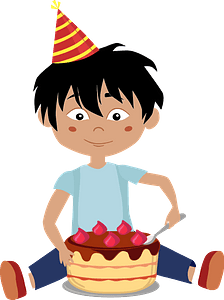 Birthday boy eating cake clipart