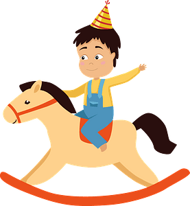 Birthday boy on a rocking horse clipart