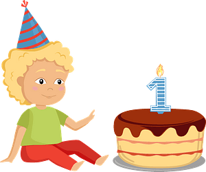Birthday boy with a cake clipart