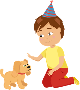 Birthday boy with his new puppy clipart