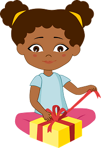Birthday girl opening her present clipart