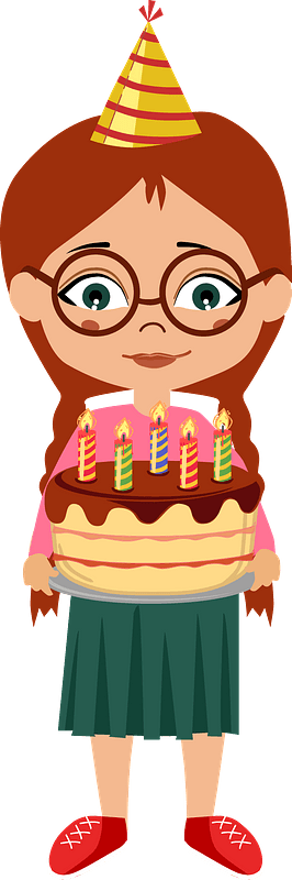 Birthday girl with a cake clipart
