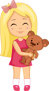 Birthday girl with her Teddy bear clipart