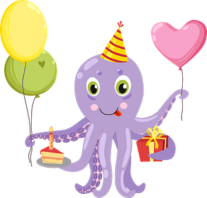 Клипарт Birthday octopus