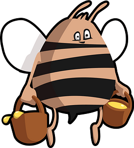 Cartoon bee with honey clipart