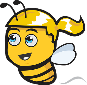 Female bee with a ponytail clipart