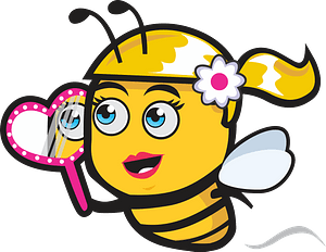 Female bee with mirror clipart