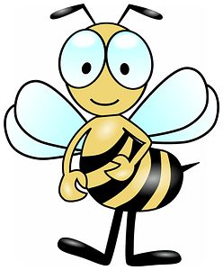Smiling bee with big eyes clipart