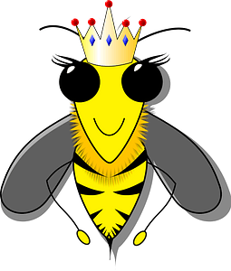 Smiling queen bee with big black eyes clipart