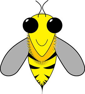 Smiling bee with big black eyes clipart