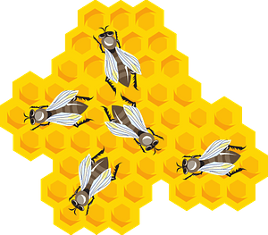 Bees on honeycomb clipart