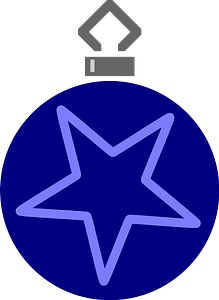 Simple Blue with Single Star Christmas Ornament clipart