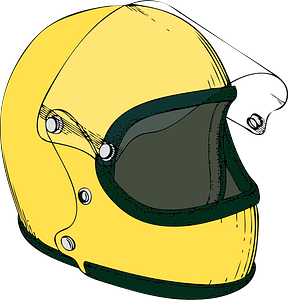 Yellow Crash Helmet clipart