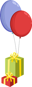 Birthday gifts and balloons clipart