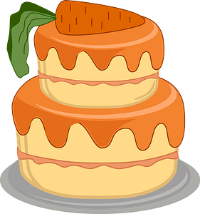 Birthday cake with a carrot clipart