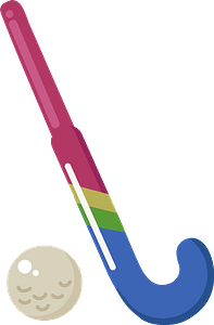 Field hockey stick and ball clipart