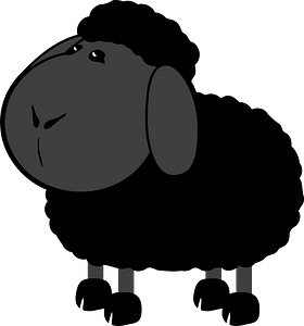Black cartoon lamb clipart